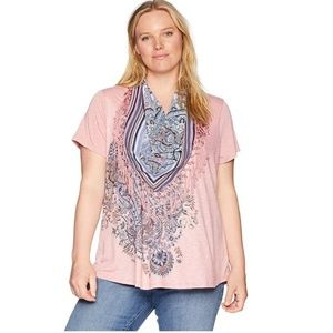 OneWorld Women's Short Sleeve Tee w/ Fringe Scarf